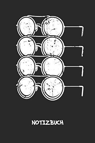 NOTIZBUCH: Notebook für Vintage-Fans 90er Kinder & Retro Liebhaber - klassisches Geschenk für Freundin und Freund   Notizheft in A5 (6x9 Inch)   ...   Coole Brillen Cover Motiv