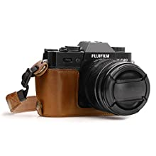 MegaGear MG959 Ever Ready Leather Camera Half Case and Strap compatible with Fujifilm X-T30, X-T20, X-T10 - Light Brown