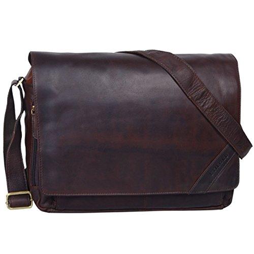 STILORD 'Nick' Umhängetasche Leder Herren Damen Unitasche 15.6 Zoll Laptoptasche Aktentasche Bürotasche Vintage Büffel-Leder, Farbe:Ebenholz - braun -
