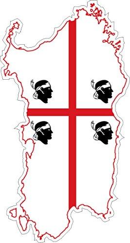Preisvergleich Produktbild Aufkleber, für Auto, aus Vinyl, Motiv Sardinien, Flagge