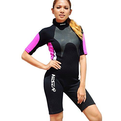Hougood Damen Tauchanzüge Nassanzüge 3mm Neoprenanzug Badeanzug Paar Kurzarm Taucheranzug Mode Surfen Anzug Wassersport Professionelle Kleidung