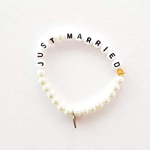Armkettchen Just Married - Perlenarmkettchen - schönes Geschenk für die Braut - Hochzeit