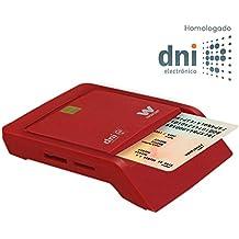Woxter Lector Dni Combo - Lector DNI electrónico, compatible con las tarjetas Smart Cards o tarjetas inteligentes y con DNI 3.0, con 3 ranuras para tarjetas, color Rojo