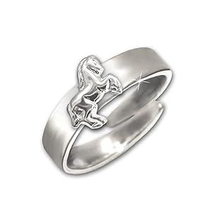 Clever Schmuck Silberner Kinder Ring mit springendem Pferd glänzend STERLING SILBER 925 universell einstellbare Größe für Kinder