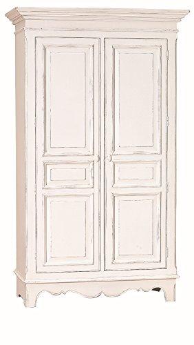 Holz-Schrank-wei-lackiert-aus-Pinie-und-MDF-mit-2-Tren-und-je-3-Bden-pro-Seite-120x58x200-cm-Country-Side-Kleider-Schrank-weiss-im-Landhausstil-mit-Gebrauchsspuren-120cm-x-58cm-x-200cm
