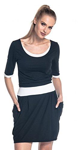 Happy Mama. Damen Midi Stillkleid Seitentaschen Lagendesign Halben Ärmeln. 698p (Schwarz) - 2