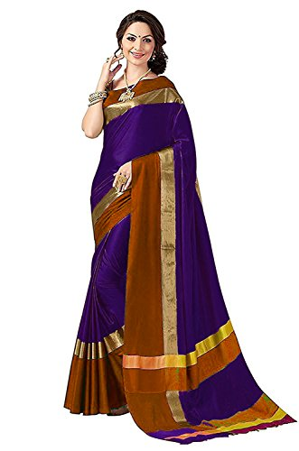 PerfectBlue Women's Cotton Silk Saree with Blouse Piece (Violet and Brown_Free Size)