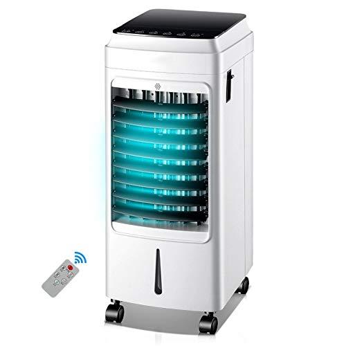 LQRYJDZ Kaltluft 75W, 0~7 Stunden Zeitsteuerung Verdunstungsluftkühler Gebläse Luftbefeuchter Tragbar mit Eisboxen Fernbedienung Innenbüro zu Hause (Color : White(single cold), Size : A) V2.0 Single
