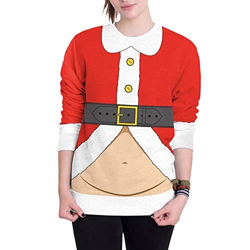 (SEWORLD Weihnachten Vintage Christmas Damen Frohe Weihnachten Große Größe O-Ausschnitt Santa Pullover Gedruckt Langarm Hoodie Sweatshirt Pullover Top(Rot,EU-38/CN-S))