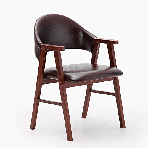 DEO Bureau d'ordinateur Chaise de salle à manger en bois massif avec dossier d'accoudoir de chaise d'étude d'accoudoirs beaucoup de couleurs durable (Couleur : Marron foncé, taille : B)