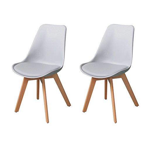Küchenstuhl Esszimmerstuhl Essstuhl Wohnzimmerstuhl Tulpenstuhl 4 Farbe/2er oder 4er (2 Stühle, Hellgrau)