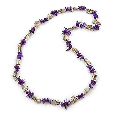 Violett, antik weiß Shell Nugget Bead Halskette–70cm L (Halskette Weiß Shell Halskette)