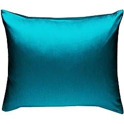 Bettwaesche-mit-Stil Mako-Satin Baumwollsatin Kissen Kissenbezug Uni einfarbig zum Kombinieren (Kissenbezug 40 cm x 40 cm, Petrol Blau)