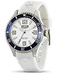 Sector Herren Armbanduhr mit weißem Zifferblatt Analog-Anzeige und Weiß PU Gurt r3251161006