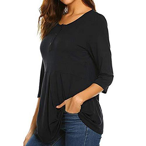 Ashui Damen Schwanger T-Shirt Mutterschaft Umstandstop Rundhalsausschnitt 3/4 ÄRmel Schwangerschaftskleider Umstandsmode Umstandskleider Umstandsshirt LangeÄRmel Stilltop Schwangerschaft Stillshirt