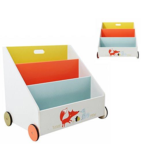 Labebe Lager Buch-Regal aus Holz für Kinder Fuchs weiß