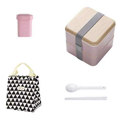 Box Lunch 1.4L Behälter 2-lagig Tragbares Fach Isolierte Suppe Kann Beutel Luftdichter Deckel Mikrowelle Teen School Office Worker 2 Farbe 13,5 * 13 cm MUMUJIN (Color : B) ()