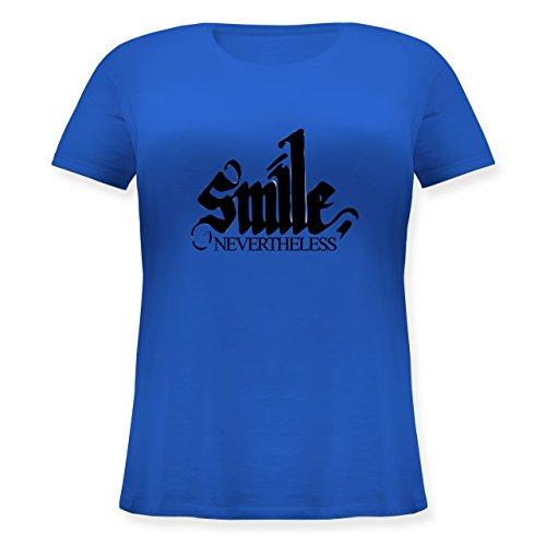 Statement Shirts - Lächle trotzdem - smile nevertheless - Lockeres Damen-Shirt in großen Größen mit Rundhalsausschnitt Blau