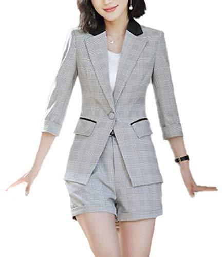 Hellomiko Damen-Businessanzug-Set zweiteilig Kleine Anzugjacke, weibliche Shorts