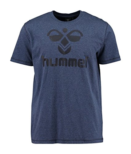 Hummel Herren Classic Bee Cotton Tee T-Shirt, Dress Blue Melange/Black, M
