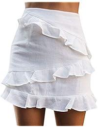 feiXIANG Jupes Femme Midi Jupe Grandes Tailles Jupe Plissée Patineuse  Courte Femme Taille Haute d été Jupe Court Jupe à Volants… 7be024fca7b