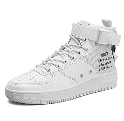 ägliche Freizeit Hohe Hilfe Schuhe Männer Leinwand Verschleißfeste Hip-Hop Air Force Ein Brett Schuhe,White,43 ()