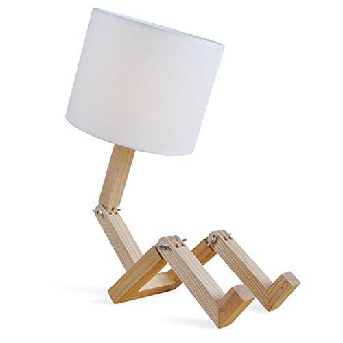 Vi.yo Kreative hölzerne Roboter Schreibtischlampe Massivholz Tischlampe für Schlafzimmer Bedside Wohnzimmer Dekoration …
