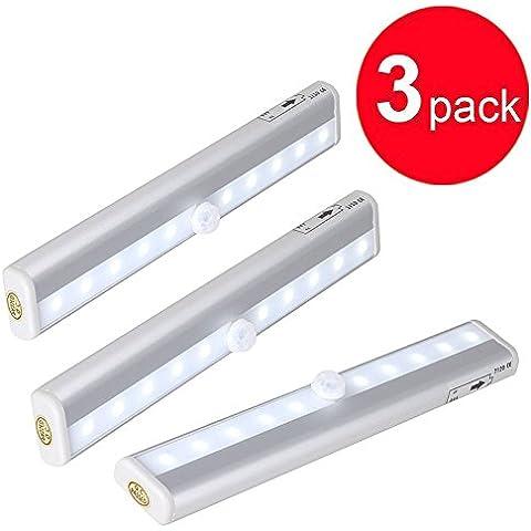 PS Hunters 3Pack 10Super Bright LED PIR sensore di movimento luci a batteria, Intelligent Wireless luce notturna con striscia magnetica per gabinetto, cassetto, guardaroba, piccola luce notturna, Ceppo proiettore ecc.