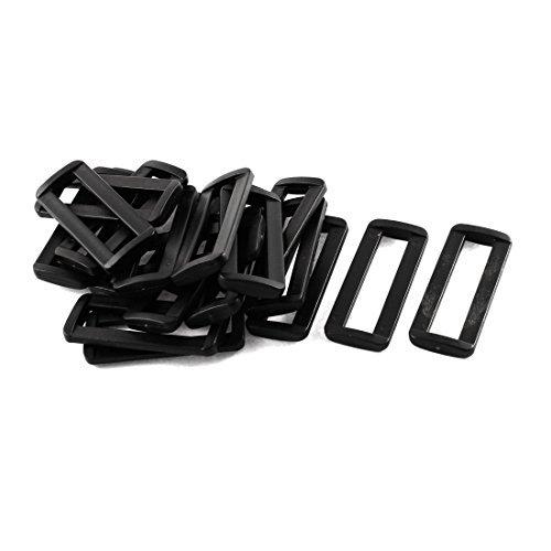 Dealmux Sac Plastique Barre diapositives Boucles 20 pcs Noir pour 50 mm Sangle en toile
