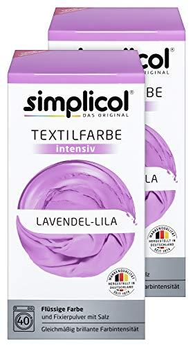 Simplicol Textilfarbe intensiv (18 Farben), Lavendel Lila 1807 2er Pack: Einfaches Färben in der Waschmaschine, All-in-1 Komplettpackung - Lavendel Samt