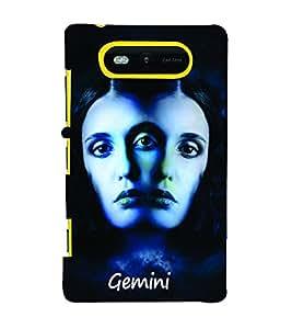 PrintVisa Zodiac Gemini 3D Hard Polycarbonate Designer Back Case Cover for Nokia Lumia 820