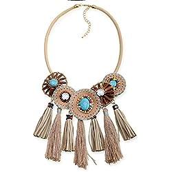 YAZILIND Mujer Collar Cuero Madera Perla Turk Cristal Squecon clavícula joyería Boho Retro étnico Personalizado