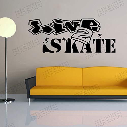 yaoxingfu Skate Skateboard Teenager Graffiti Kunstwand Vinyl Wandaufkleber Für Schlafzimmer Jungen Hobby Aufkleber Wohnkultur Aufkleber weiß 80X32 cm -
