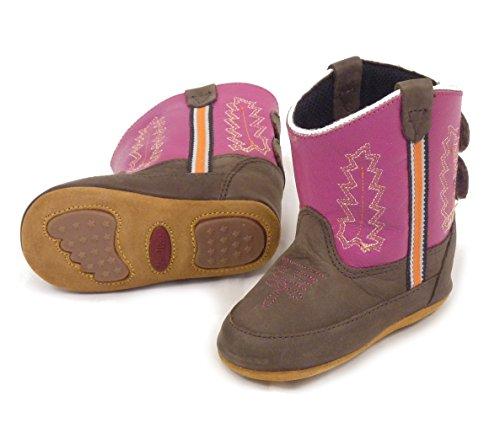Westernwear-Shop Baby Leder-Cowboystiefel Westernstiefel Girl Pink - Baby-Westernstiefel Kinder-Westernstiefel Cowboy Boots für Mädchen (3) (Braun Western-boot Rindsleder)