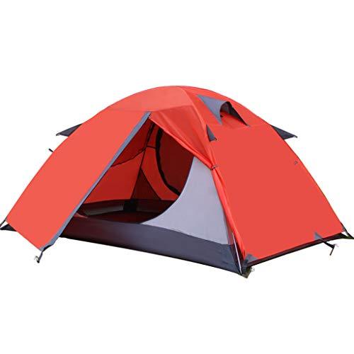 OLLY Marke 2 Personen Zelt Camping Doppelschicht Wasserdichte Outdoor Zelt Leichte Kuppelzelt, 4 Farben (Farbe : Red)
