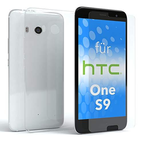 EAZY CASE Silikonhülle & Panzerglas im Set für HTC One S9 I Displayschutzglas, Panzerglas nur 0,3 mm 9H Härte, Schutzhülle Ultra dünn, Silikon Hülle, Backcover, Transparent/Kristallklar