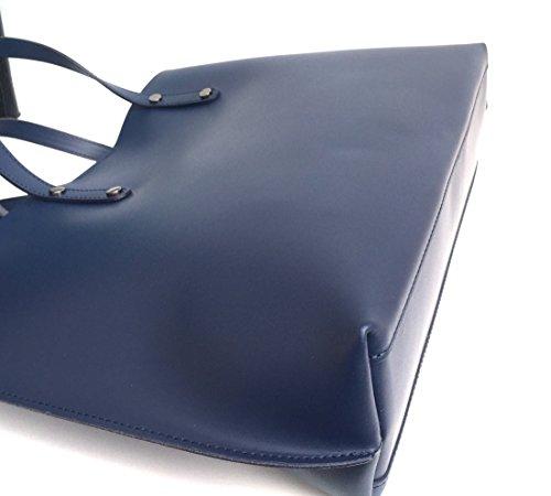 Superflybags Borsa Donna in Vera Pelle Liscia modello Consuelo 2 in 1 Made in Italy blu scuro