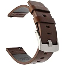 TRUMiRR 18mm Vintage reloj de pulsera de cuero genuino de liberación rápida Correa de muñeca para Huawei Watch 1st Gen, Huawei Fit, Asus Zenwatch 2 Women 1.45'' WI502Q, Withings Activite/Pop/Steel HR 36mm, Fossil Q Tailor, LG Watch Style