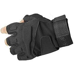Yihya Transpirable Militar Táctico Combate Airsoft Ciclismo Bicicleta Motos Medio Dedo Guantes Half Finger Antideslizante Gloves Protección de Mano sin dedos para Caza Mountaineer Trekking Material de Fibra Sintética--- negro - M