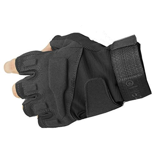 Yihengya yihya traspirante anti-scivolo guanti - tattici militari sportivi tactical outdoor sport fitness barretta airsoft pesca palestra caccia equitazione mezza finger guanti gloves - nero - l