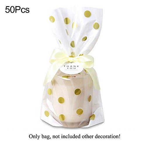 Candy Cookie Tasche, woopower 50//Tüte Luxuriöse Gold blockierender Punkte und Streifen Muster Festival Geschenk Verpackung Taschen Bakery Shop Staubbeutel Free Size Punkt (Halloween Cellophan)