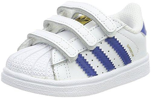 adidas Superstar, Scarpe da Ginnastica Basse Unisex-Bimbi, Bianco (Blue/Footwear White), 19 EU