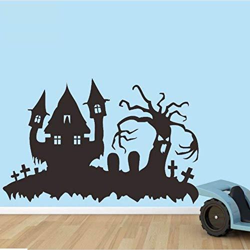 oo Happy Halloween Festival Haus Baum Friedhof Kinderzimmer Dekoration Aufkleber 57 * 36cm ()