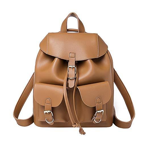 TianWlio Frauen Handtasche Adrette beiläufige weiche Leder kleine Packung Rucksäcke Rucksäcke Taschen Braun