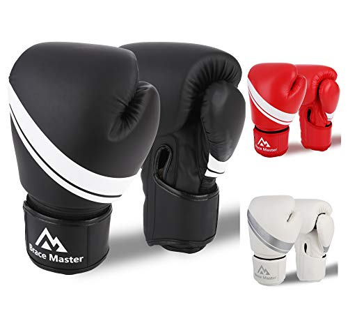 Brace Master Boxhandschuhe Leder infundiertes Gel, Trainingshandschuhe für Sparring, Kickboxen, Boxsack, Sport & Outdoor Spiele für Männer und Frauen 8-16 OZ (Schwarz, 10-OZ)