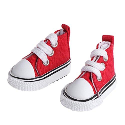 Lamdoo 5cm bambola scarpe accessori tela fashion summer toys mini sneakers denim stivali, tela, red, 5.5cm