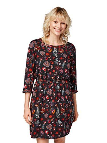 TOM TAILOR Denim Damen Kleid Romantisches Langarmkleid mit tollem Druck, Schwarz (Black Flower Allover 14156), Medium