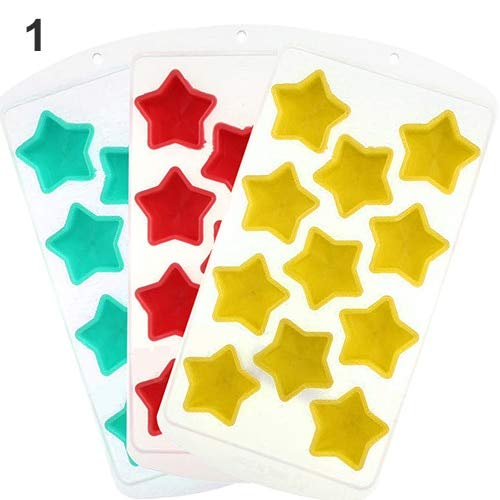 LyrbeibeiFruit Style Silicone Ice Tray Freeze Mould Jelly Pudding Chocolate Mold Maker 11 Cup Stars Star Chocolate Mold