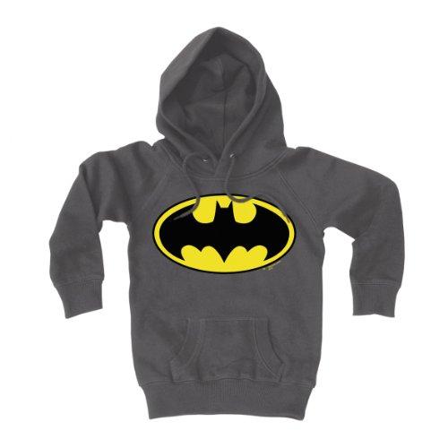 LOGOSHIRT - Kinder Sweatshirt Jungen Batman - Logo - DC Comics - Superheld Kapuzenpullover - grau - Lizenziertes Originaldesign, Größe (Material Returns Superman Kostüm)