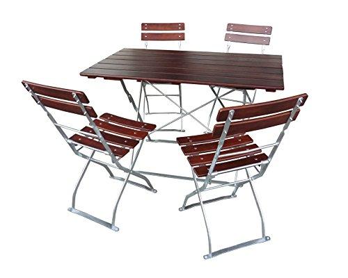 EuroLiving Biergartengarnitur 1x Tisch 120x70 cm & 4X Stuhl Edition-Classic Kastanie/verzinkt